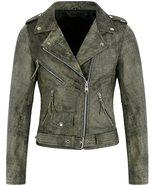 Women Olive Cracker Waxed Vintage Biker Motorcycle Stylish Real Leather ... - $128.00