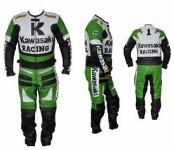 KAWASAKI GREEN MOTORBIKE MOTORCYCLE BIKERS COWHIDE LEATHER ARMOURED 2 PC... - $359.99