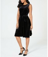 CHARTER CLUB Sleeveless Velvet A-Line Dress with Belt, Black NWT LARGE - $21.12