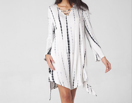 Women Long Sleeve V-Neck Loose Mini Dress - $51.44