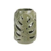 "Diva At Home 7"" Elegant Moss Green Cutout Leaf Ceramic Candle Holder Lan... - $16.57"