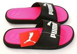 Puma Black & Pink Cool Cat Slide Sandals Youth Girl's 3C NWT - $29.69
