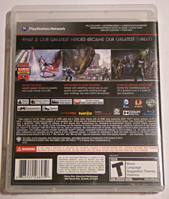 Playstation 3 - INJUSTICE GODS AMONG US (Complete with Manual)