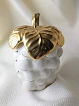Retro Porcelain White Grape Cluster Condiment Sugar Bowl w/ gold leaf li... - $9.89