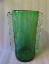 Vintage MCM Retro Mod ROSSI CANADA Blown GLASS Forest Green Clear Applie... - $74.20