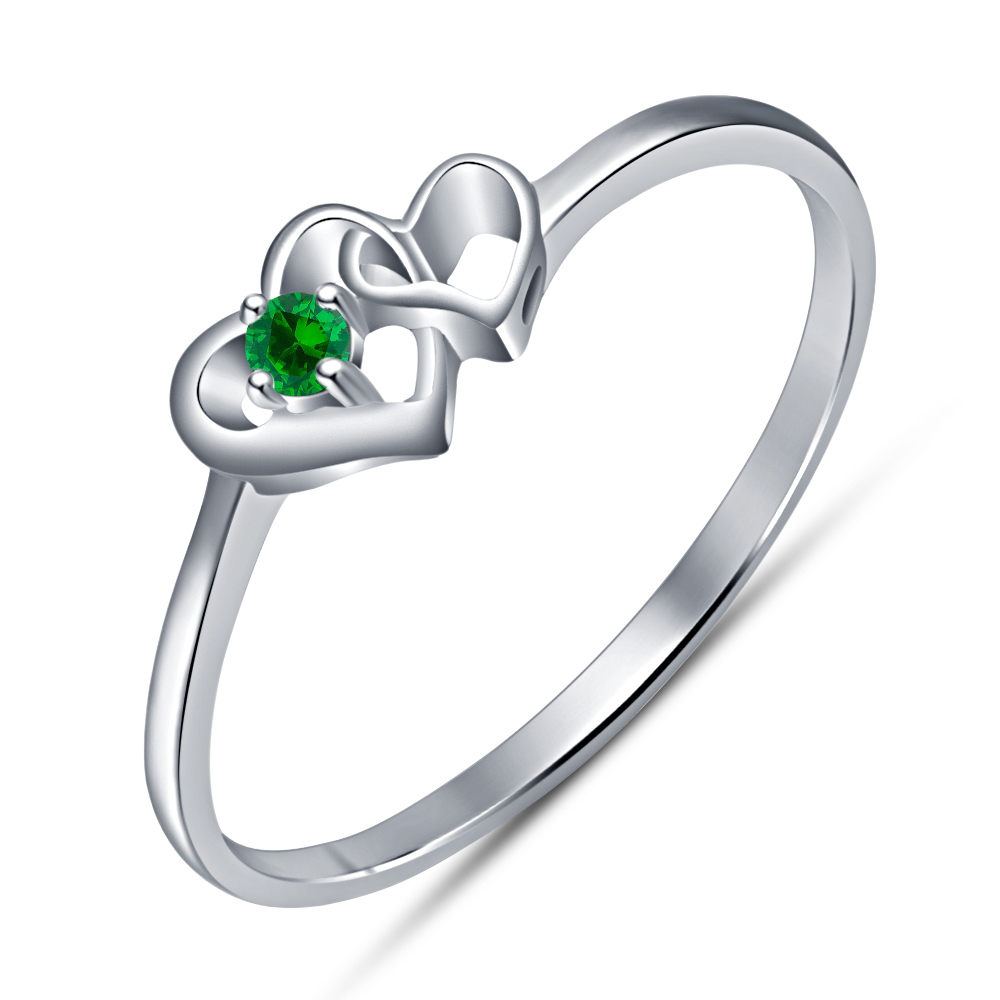 Double Heart Shape Solitaire Ring Green Sapphire 14k White Gold Over 925 Silver