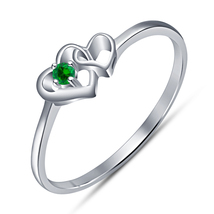 Double Heart Shape Solitaire Ring Green Sapphire 14k White Gold Over 925... - $63.99