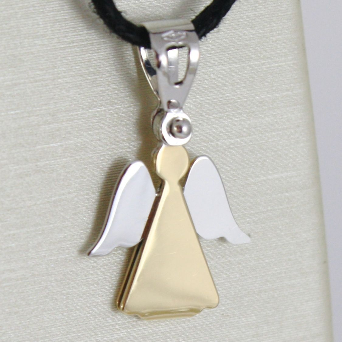 18K YELLOW AND WHITE GOLD PENDANT WITH LUSTER STYLIZED ANGEL MADE IN ITALY 0.80