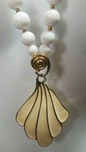 Vintage Signed Trifari White Bead & Enamel Pendant Necklace - $54.45