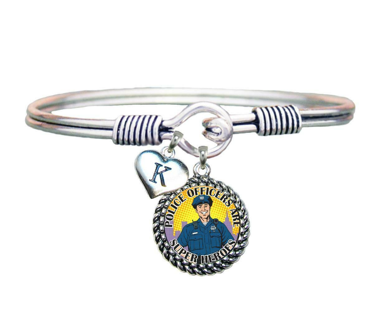 Primary image for Police Officers are Super Heroes Silver Wire Bracelet Jewelry Choose Initial