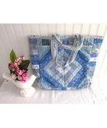 Patchwork Tote Bag 1970s Blue Ditsy Prints Handbag Yarn Bag Quilted Need... - $28.00