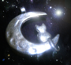 Haunted Cat Moon Charm Free W $25 27X End Jealousy Sorrow Anger Magick Witch - $0.00
