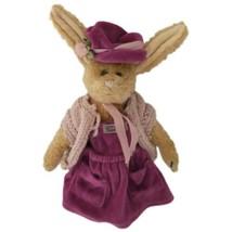 Boyds Bears Emily Babbit Plush Rabbit Purple Dress Hat 1998 Retired Jointed  - $15.99