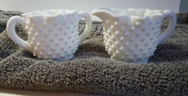 Vintage FENTON Art Hobnail Milk Glass Creamer & Sugar - $14.84