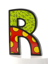 """6"""" Romero Britto Alphabet Letter Figurine Various Freestanding or Wall Mounted image 13"""