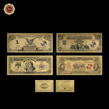 US Gold Banknote Set Of 1989 $1, $2, $5 Silver Certificate & 1901 $10 Bi... - $15.39