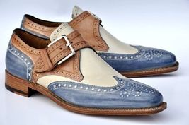 Handmade Men's Wing Tip Brogues Monk Strap Shoes image 3