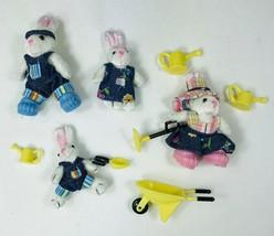 Furryville Bunningtons in Garden 4 Bunny Rabbits Wheelbarrow Water Cans ... - $9.74
