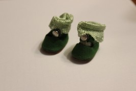 Vintage Ginny Doll Green Shoes and Socks Center Greek Key Snap soft  - $49.95