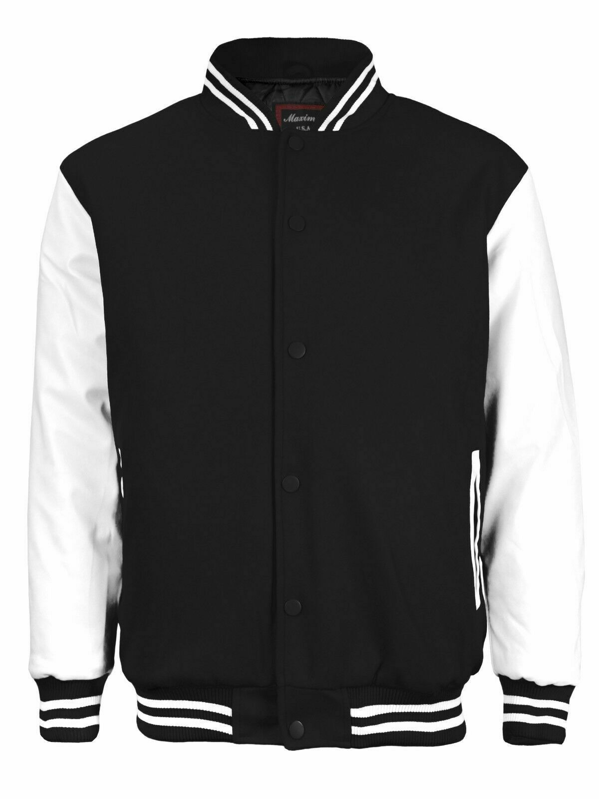 Men's Classic Snap Button Baseball Letterman Black Varsity Jacket w/ Defect