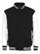 Men's Classic Snap Button Baseball Letterman Black Varsity Jacket w/ Defect image 1