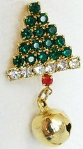 Vintage Shimmering Glass Green White Red With Bell Christmas Tree Brooch... - $12.82