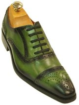 Oxford Style Green Semi Brogue Cap & Square Toe Wing Tip Lace Up Leather... - $139.99+