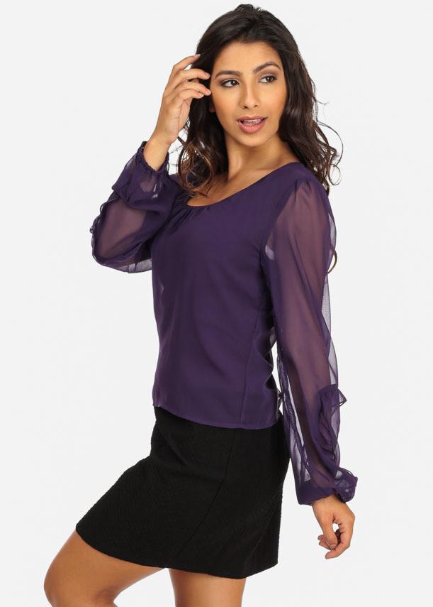 Scoop neckline chiffon purple and black dress