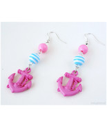 Pink Anchor Earrings, Baby Blue and Pink, Stripes, Silver Plated - Nauti... - $6.00