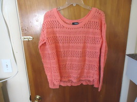 Womens A.N.A. Petite Size PXL Peach ? Crocheted Type Of Long Sleeve Top - $14.01