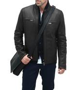 Men Handcrafted Black Real Leather Jacket Biker Motorcycle Racer Cafe Di... - $120.62+