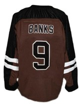 Connor Banks Mystery Alaska Movie Hockey Jersey New Brown Any Size image 2