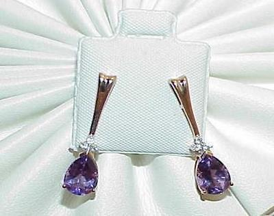 Primary image for 14K 4.00ct Amethyst Solitaire Pear Cut 6 Diamond Earrings Yellow Gold New w/Tag