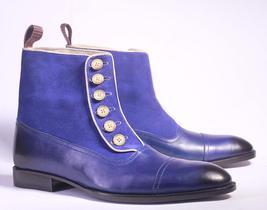 Handmade Men Blue Leather Suede Cap Toe Button Boots, Men Fashion Design... - $159.99+