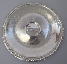 "Vtg Leonard Silverplate Round Chip & Dip Tray Plate Gadroon Etched 12.25"" - $20.00"