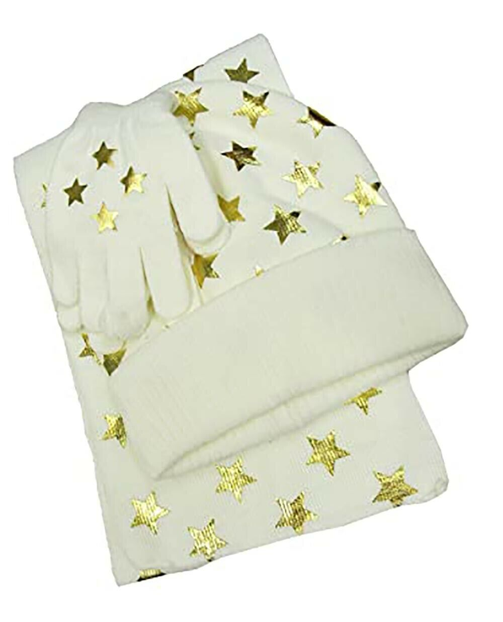 Primary image for Designer MACY'S Berkshire Girls' 3-Pc Knitted Hat Scarf Gloves Set Foil Star Ivy