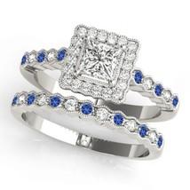 14k White Gold Over 925 Silver Princess Cut Diamond Womens Halo Bridal Ring Set - $94.99