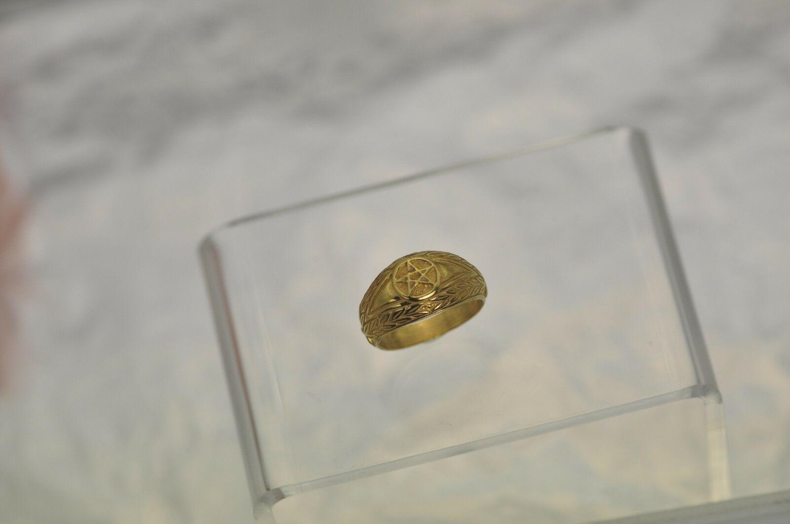 New Real 10K Yellow Gold Celtic Dragon Evil Eye ring Pentagram Jewelry Pick SZ