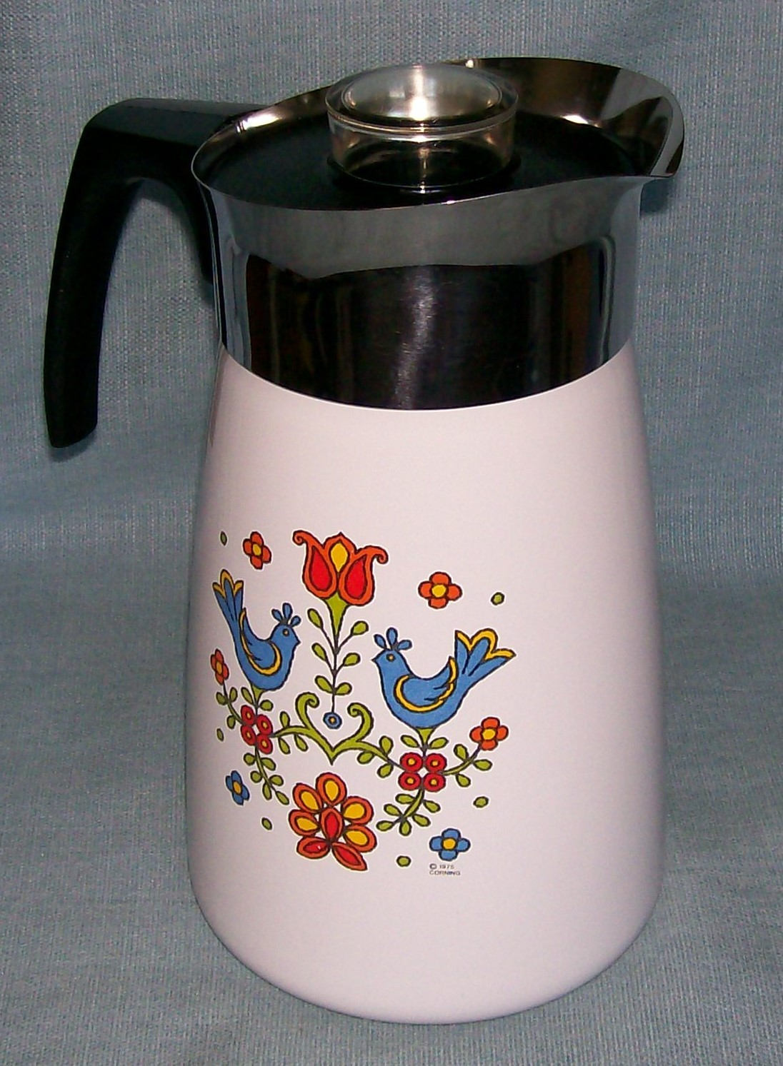 Vtg Corning COUNTRY FESTIVAL Friendship Stove Top 10 Cup Percolator P149 Birds image 2