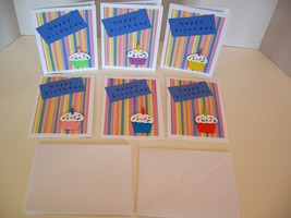 """Handmade Cupcake """"Happy Birthday"""" Greeting cards-pack of 6 cards and 6 e... - $14.00"""