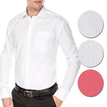 Men's Fashion Fit Long Sleeve Button Down Pocket Pattern Dress Shirt