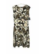 Madison Leigh Womens Dress Size 12 Faux Wrap Sleeveless Black Brown Knee... - $24.04
