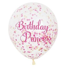 "12"" Birthday Princess Pink & Gold Confetti Balloons, 6ct - $9.35"