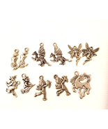 11 silver fantasy fairytale metal charms pendants 15mm to 22mm fairy mer... - $2.40