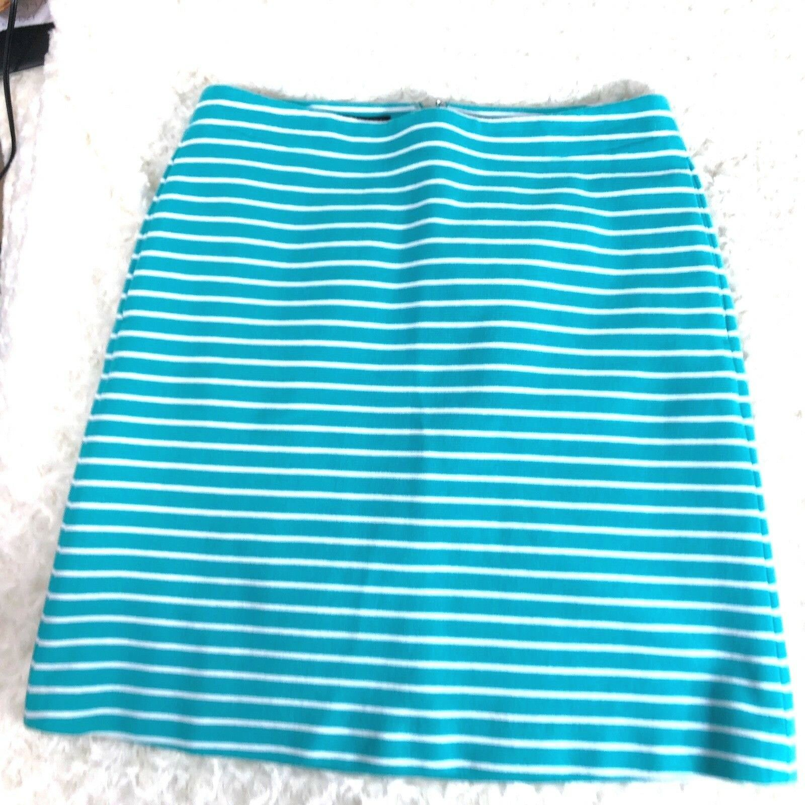 Talbots Womens Sz 6 P Teal White Striped Skirt With Pockets  - $13.60