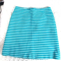 Talbots Womens Sz 6 P Teal White Striped Skirt With Pockets - $11.70