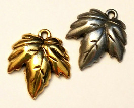 AUTUMN LEAF FINE PEWTER CAST CHARM - 16x19x3mm
