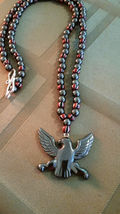 Vintage Trade Bead & Hematite Necklace with Carved Eagle, Natural Stone image 3