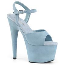 """PLEASER ADORE-709F Sexy 7"""" Heel  Platform Blue Faux Suede Dancer Strippe... - $53.95"""
