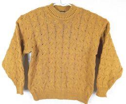 Vtg Ellis Island Men Sweater XL Mustard Yellow Crewneck Chunky Cardigan Pullove image 9